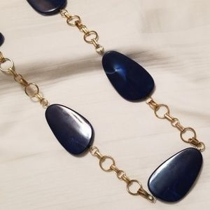 Gold Tone Large Blue Beads Necklace